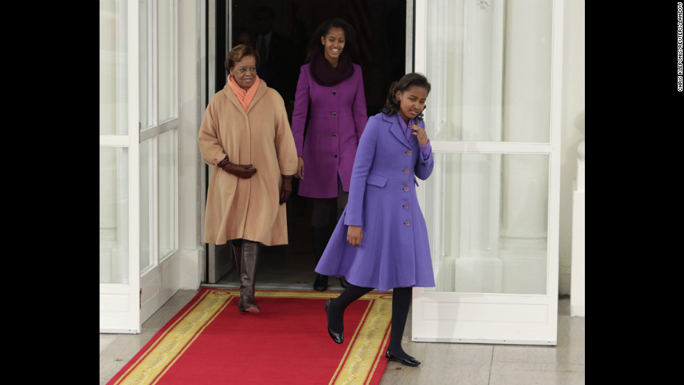 From left, the first lady's mother, Marian Robinson, Malia and Sasha depart the White House for the U.S. Capitol for the Inauguration.