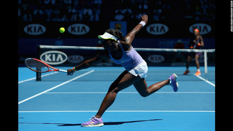 Stephens plays a backhand in her quarterfinal match against Williams on January 23.