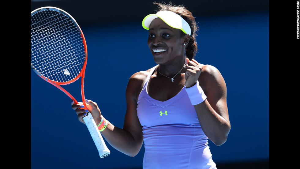 Sloane Stephens of the U.S. celebrates after beating compatriot Serena Williams, who was favored to win the tournament, during their women's singles match on Day 10 of the 2013 Australian Open in Melbourne on Wednesday, January 23. Stephens won 3-6, 7-5, 6-4.