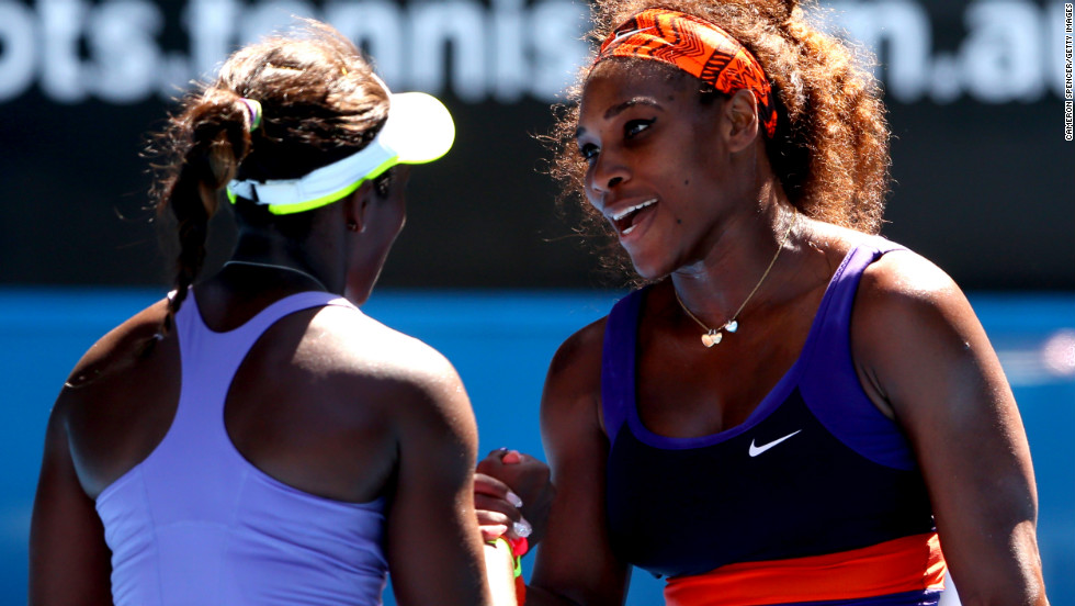 Williams congratulates Stephens at the end of their match on Wednesday.