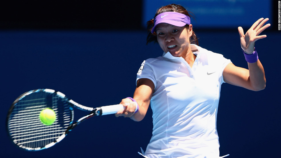 Na Li of China plays a forehand in her semifinal match against Maria Sharapova of Russia on January 24. Li won 6-2, 6-2.