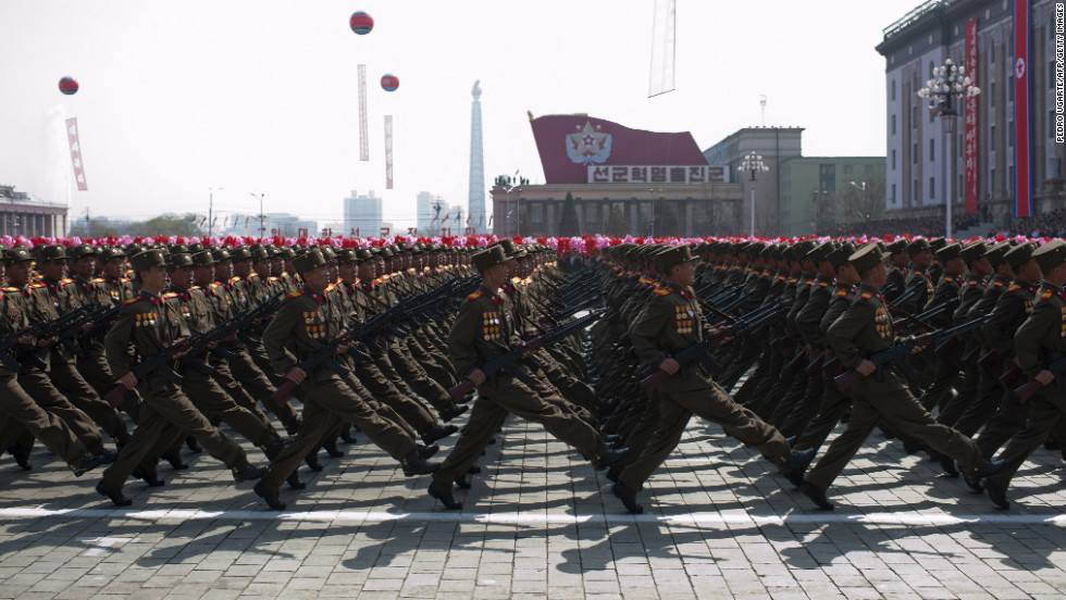North Korean soldiers march during a military parade in Pyongyang in April 2012.