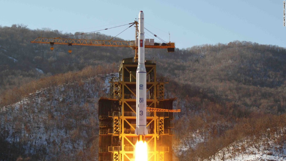 This picture from KCNA on December 12, 2012 shows the North Korean rocket Unha-3, carrying the satellite Kwangmyongsong-3, lifting off from the launching pad in North Korea.