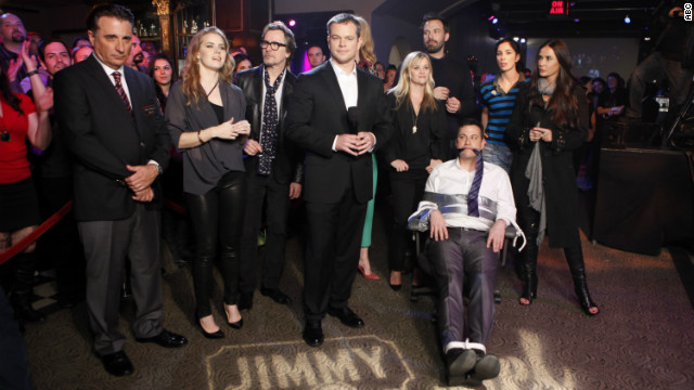 "The stars turned out Thursday night when Matt Damon ""hijacked"" Jimmy Kimmel's late-night show."