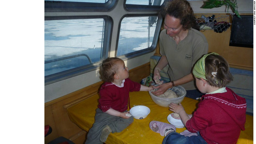 The Brossier family aboard their polar vessel,<em> Le Vagabond</em>. Eldest daughter Leonie (right) was only 12 days old the first time she boarded the vessel.