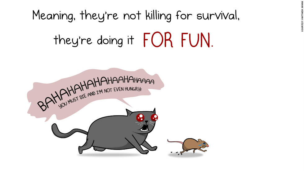 "Cats get equal time, although Inman has no illusions about their behavior. Witness this panel from <a href=""http://theoatmeal.com/comics/cats_actually_kill"" target=""_blank"">""How much do cats actually kill?""</a>"