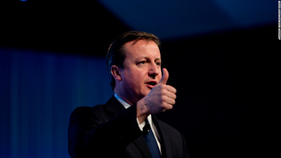 British Prime Minister David Cameron gives the thumbs up on during his talk at the annual World Economic Forum. Cameron said that Britain was not turning its back on Europe, after angering his EU partners by announcing plans for a referendum on membership.