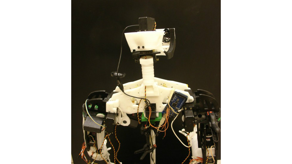A rear view of InMoov's upper torso reveals a bundle of exposed wires and other electronic components. Although it looks complicated, Langevin assures that, as long as you follow the instructions on his blog, no prior knowledge is required.