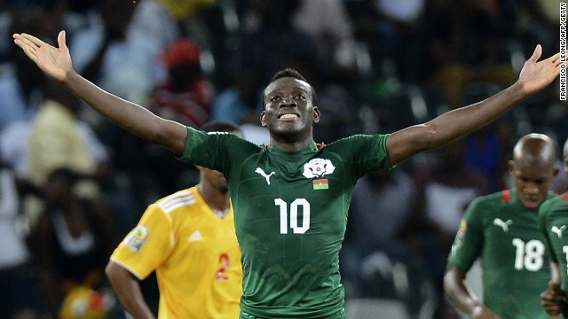 Alain Traore celebrates scoring in Burkina Faso's 4-0 win over Ethiopia in Mbombela.