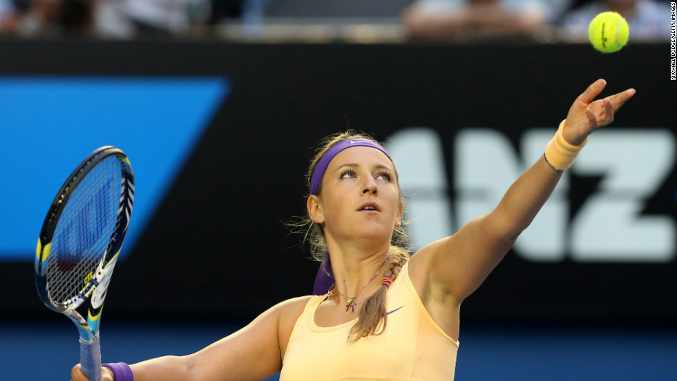 Belarus Azarenka, who retained her world No. 1 ranking, serves in Saturday's final.