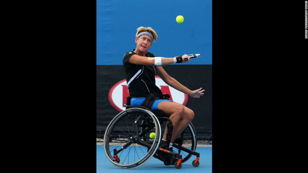Sabine Ellerbrock of Germany plays a backhand in her wheelchair singles final against Aniek Van Koot of the Netherlands on January 26. Van Koot took the title with a 6-1 1-6 7-5 victory.