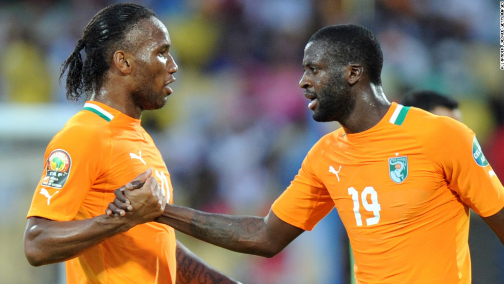 Substitute Didier Drogba (left) celebrates with Yaya Toure after the midfielder put the Ivory Coast 2-0 ahead near the end of the Africa Cup of Nations Group D match against Tunisia in Rustenburg.