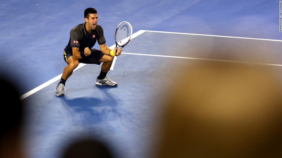 Novak Djokovic of Serbia celebrates winning the men's singles final match against Andy Murray of Great Britain at the Australian Open in Melbourne on Sunday, January 27. Djokovic won 6-7 (2), 7-6 (3), 6-3, 6-2.