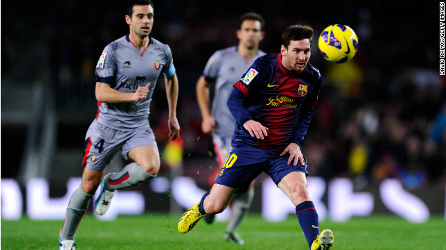 Leo Messi scored four as Barcelona cruised to a 5-1 win over Osasuna at Camp Nou Sunday.