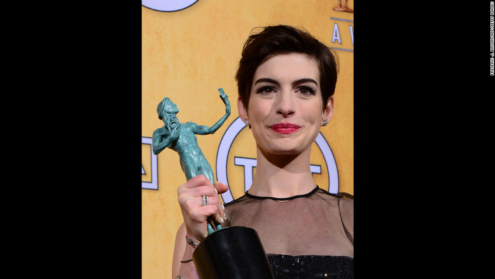 """Anne Hathaway: Outstanding performance by a female actor in a supporting role for """"Les Miserables."""""""