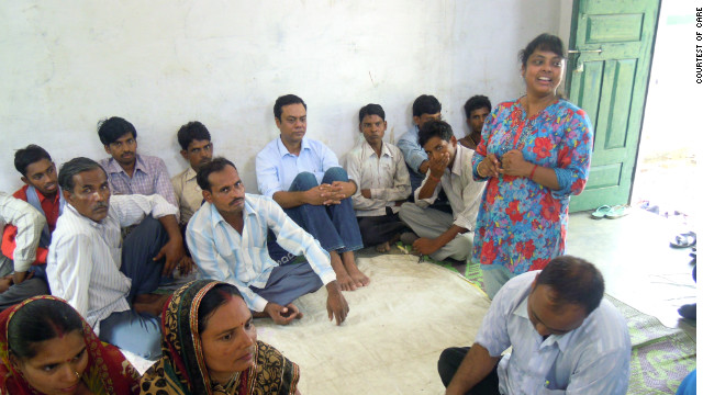 Suniti Neogy, the writer, at a community meeting in the village of Musepur in India, where she discussed the importance of men taking an active role in parenting.
