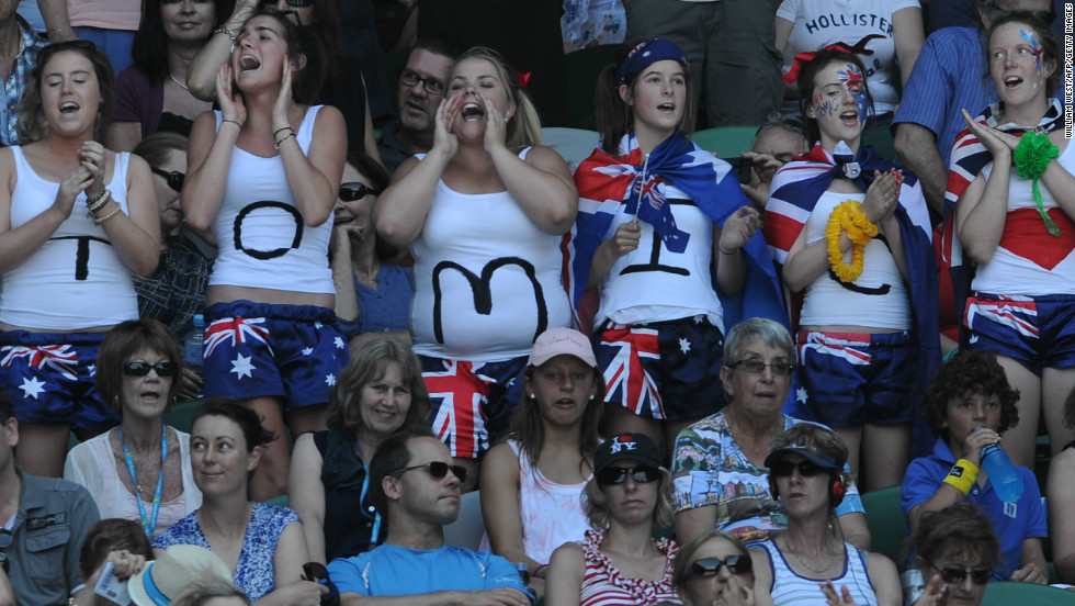 These spectators are offering their full backing to Australian No. 1 Bernard Tomic. The 20-year-old recently beat world No. 1 Novak Djokovic in a tournament prior to the Australian Open, but not all Australian sports fans are convinced by his talents.