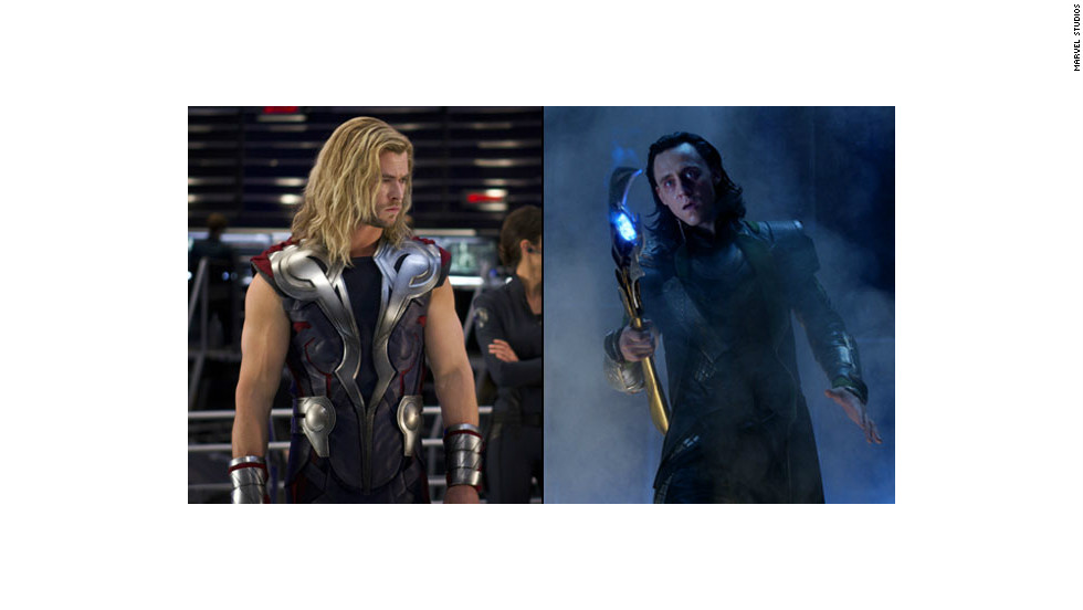 "The good-vs.-evil brotherly battle between Marvel comics characters Thor (Chris Hemsworth), left, and Loki (Tom Hiddleston) was the core of ""The Avengers."""