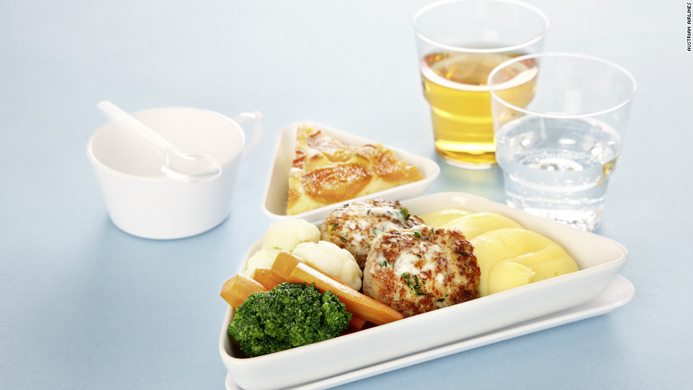 Austrian Airlines passengers can upgrade their in-flight meal by pre-ordering from a kiosk at Vienna Airport one hour before takeoff.