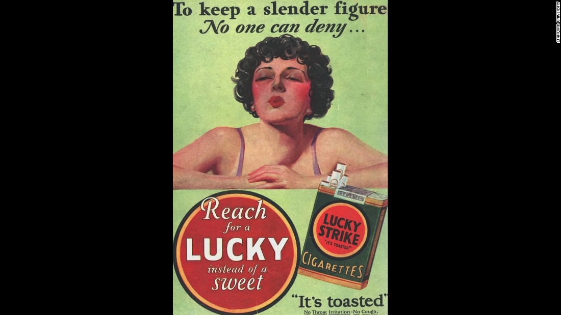 "1925: The Lucky Strike cigarette brand launches the ""Reach for a Lucky instead of a sweet"" campaign, capitalizing on nicotine's appetite-suppressing superpowers."
