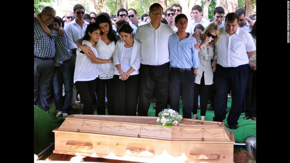 Guido Britez's family attends the funeral on January 29.