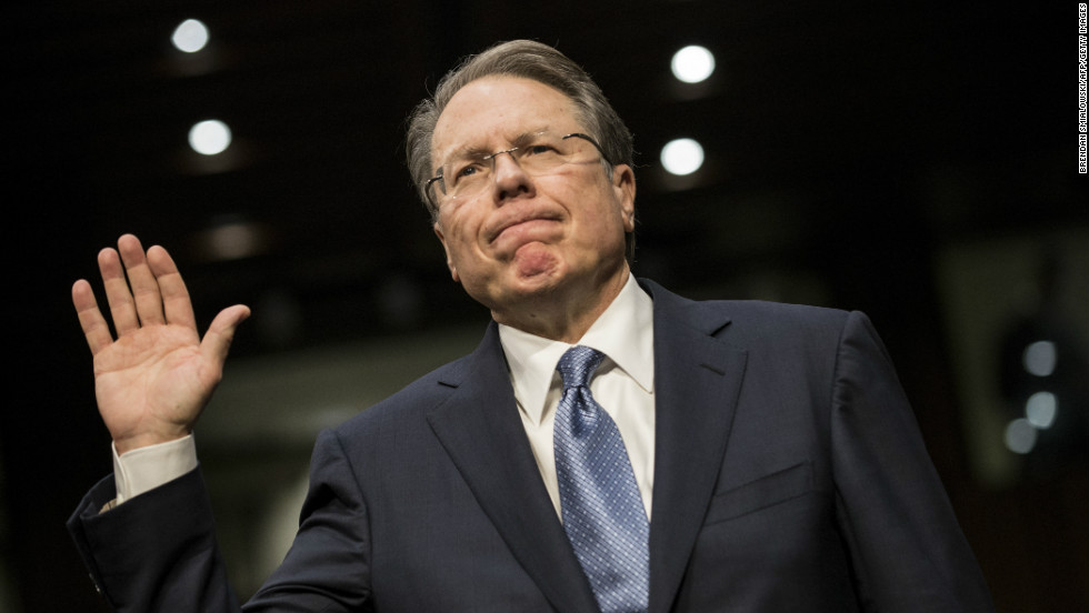 Wayne LaPierre, executive vice president of the National Rifle Association, is sworn in.