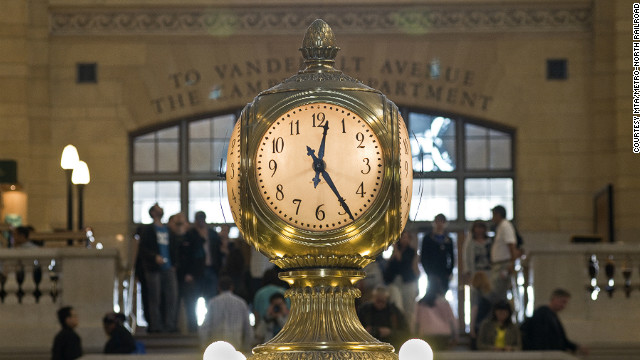 The terminal's iconic opal-faced clock.