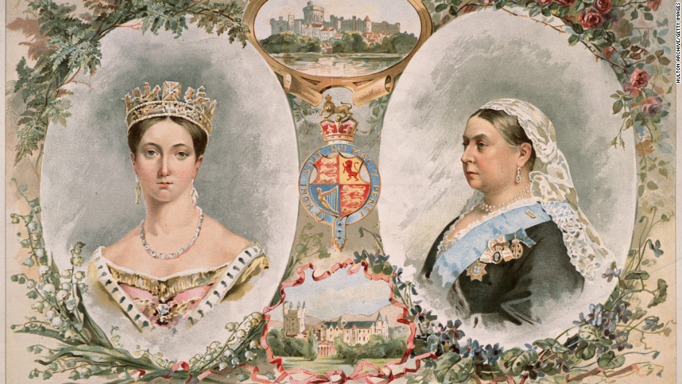 Published in 1887, this drawing depicts Queen Victoria (1819-1901) at the start of her reign in 1837 and as she appeared 50 years later at the time of her Golden Jubilee.
