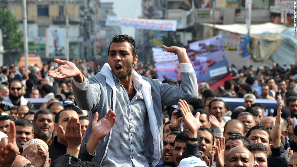 An Egyptian man takes part in a rally in Port Said on January 29. Protests in Port Said and nearby cities along the Suez Canal are symbolic because that region was among the first where the Mubarak regime lost control during the 2011 unrest, analysts say.
