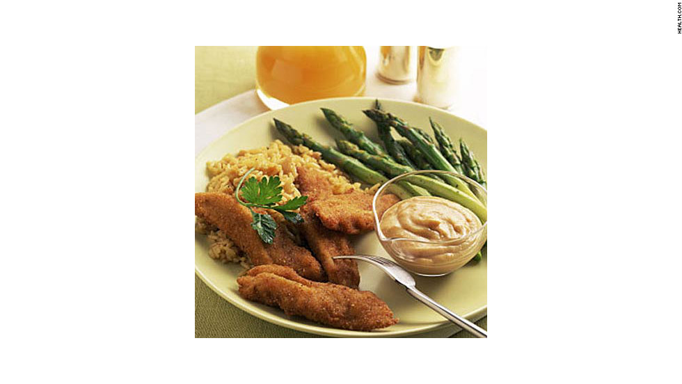 "Baking these 190-calorie chicken strips keeps them low-fat, but the seasoning and bread crumbs create a faux-fried texture. <strong>Try this recipe:</strong> <a href=""http://www.health.com/health/recipe/0,,10000001097977,00.html"" target=""_blank"">Smoky chicken fingers</a>"