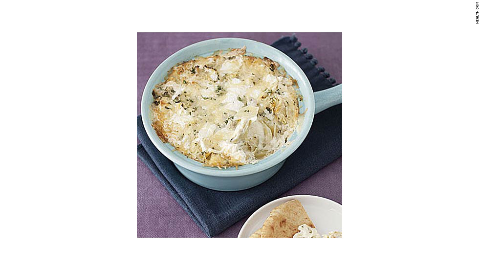 "This chunky dip contains more than 25% of your daily calcium needs for only 159 calories per serving. <strong>Try this recipe:</strong> <a href=""http://www.health.com/health/recipe/0,,10000001891980,00.html"" target=""_blank"">Artichoke dip</a>"