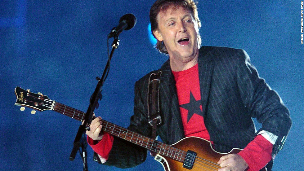 """After Janet Jackson's """"wardrobe malfunction"""" the year before, Paul McCartney's 2005 performance was a show everyone could get behind. McCartney took the stage to play fan favorites such as """"Live and Let Die,"""" """"Drive My Car"""" and """"Hey Jude."""""""
