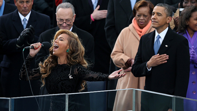 Beyoncé performs the national anthem at Barack Obama's second inauguration