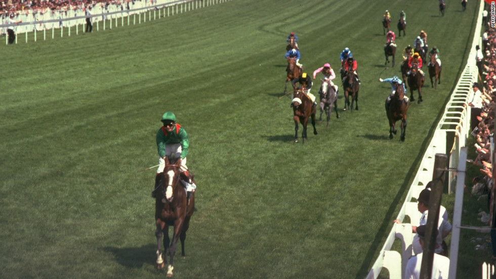 Irish race horse Shergar annihilates the field at Britain's prestigious Epsom Derby, winning by an unheard-of 10 lengths. It was the biggest margin of victory in the race's 226-year history.
