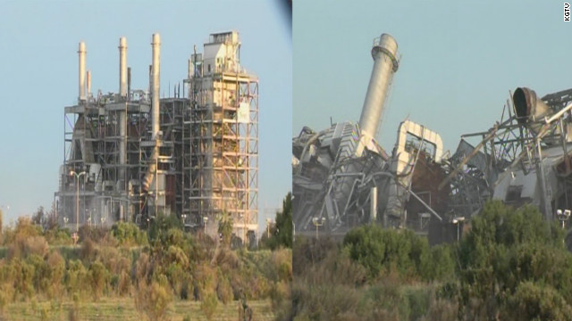 The South Bay Power Plant in Chula Vista, CA imploded Saturday, February 2, at 10am ET in San Diego.  Picture is a split of a before the implosion and after the implosion