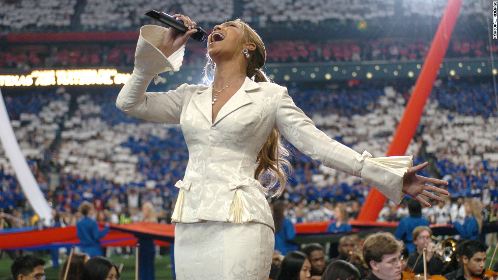 Beyonce was right back at the Super Bowl in 2004, performing the national anthem to kick off Super Bowl XXXVIII on February 1.