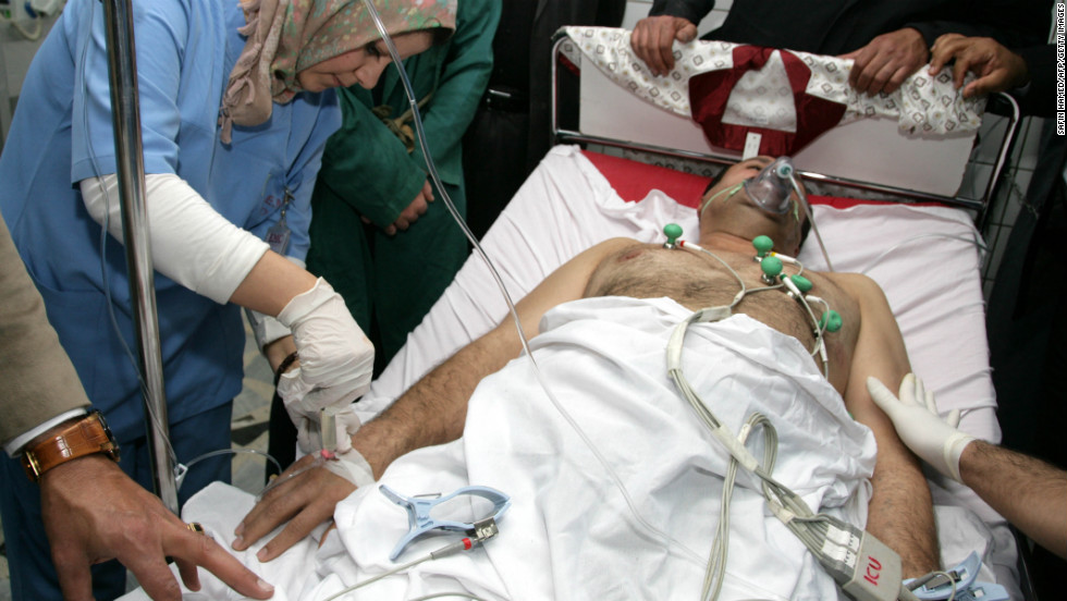 Brig. Gen. Sarhad Qadar is treated at Arbil hospital in Kirkuk.