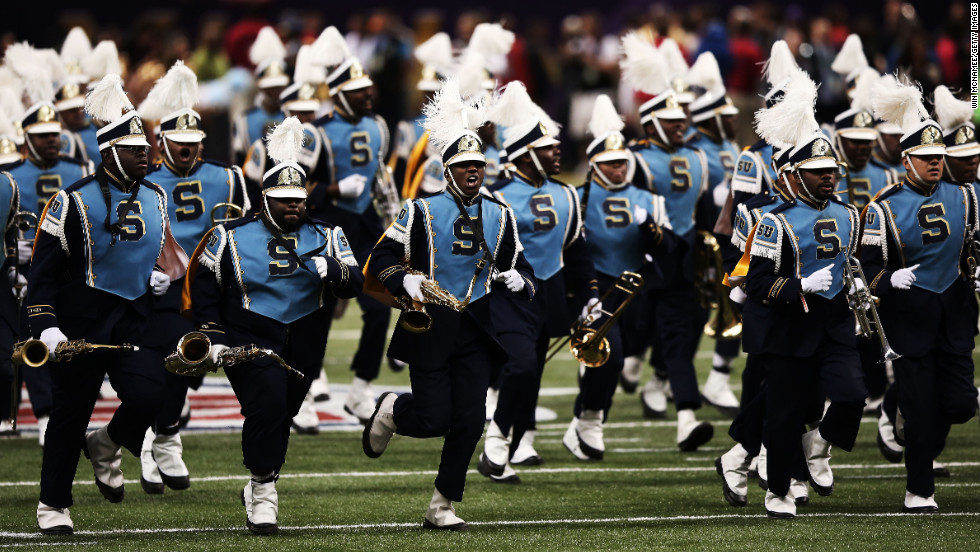 The Southern University Marching Band gets ready to perform before the start of Super Bowl XLVII.