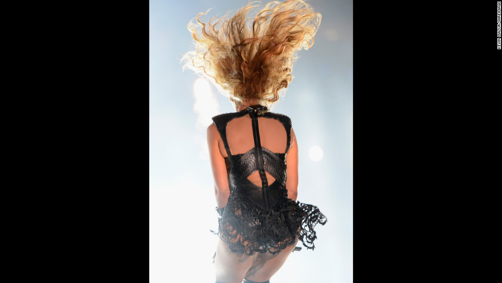 Singer Beyonce spins while performing.
