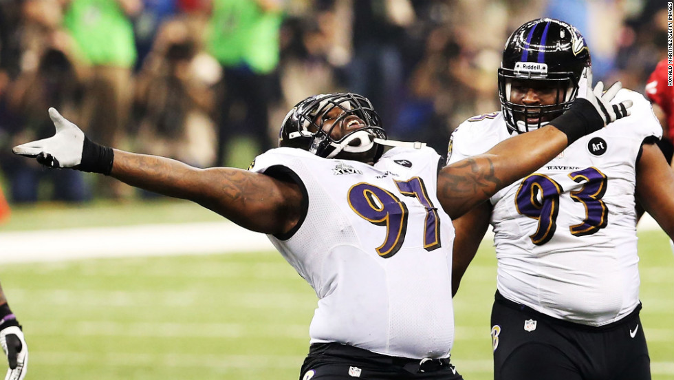 Arthur Jones of the Baltimore Ravens celebrates after a tackle during Super Bowl XLVII.