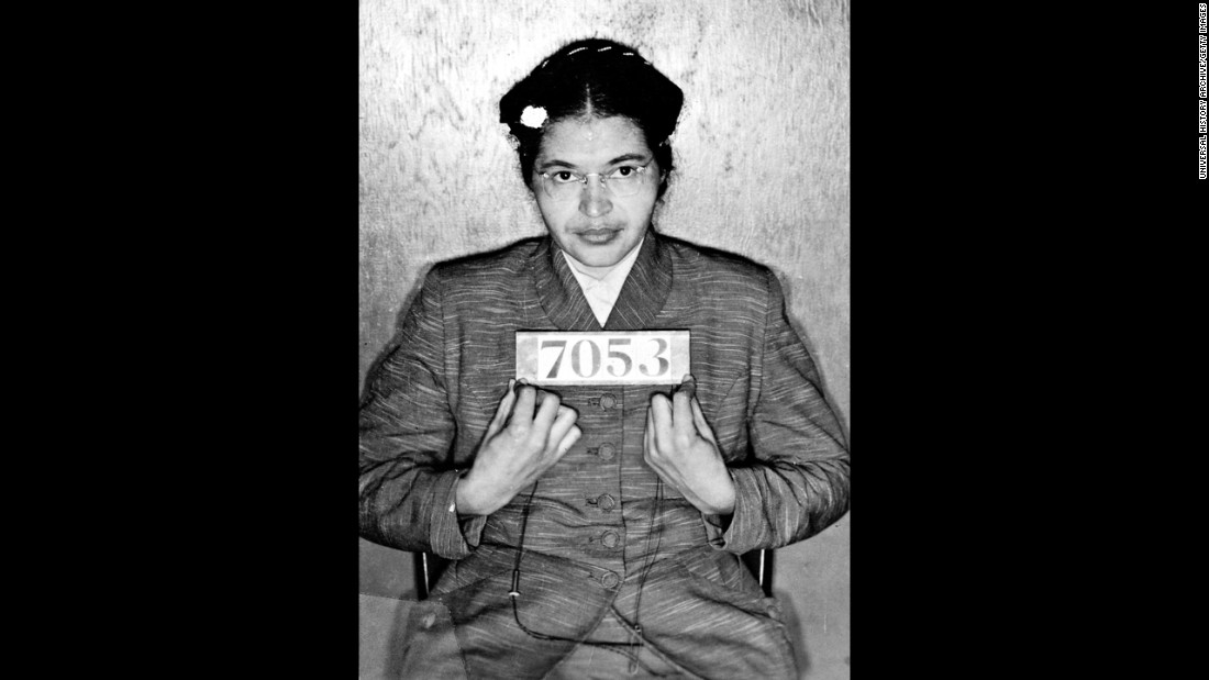 Rosa Parks' booking photo. Her activism and arrest served as a rallying point in the civil rights movement. Parks died at 92 in 2005.