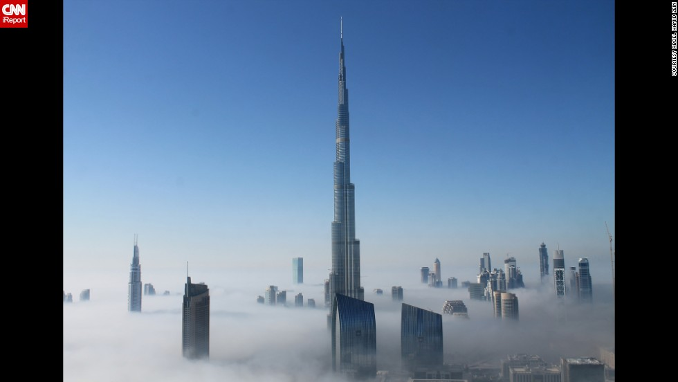 "This was the view from <a href=""http://ireport.cnn.com/docs/DOC-895117"">Abdel Hamid Zein's</a> 50th floor apartment in Dubai, about 650 feet above the ground. ""It is foggy in Dubai on rare occasions and usually lasts for two to three hours in the morning,"" he said. ""For me it was quite impressive because it's not every day you wake up and you find yourself above the clouds."""