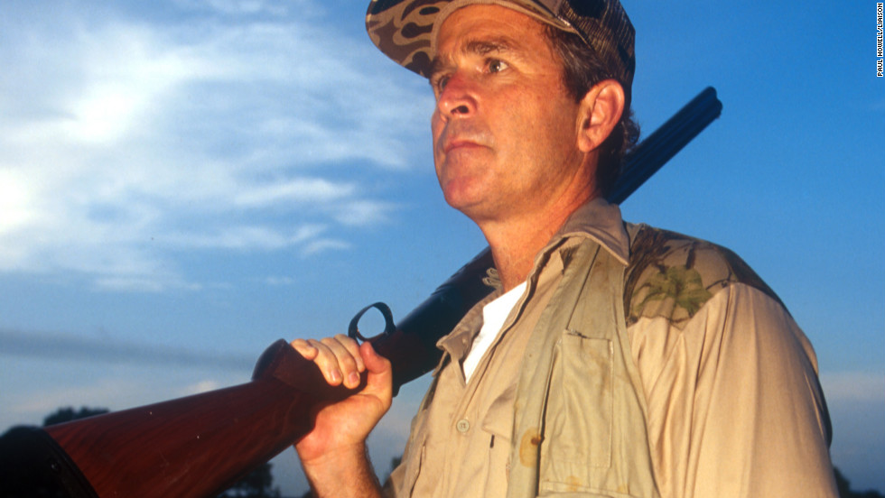 George W. Bush hunts for doves in Hockley, Texas, in September 1994.