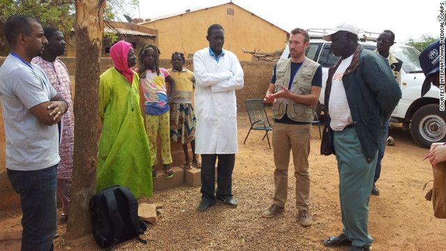 Mat Jacob, far left, meets with local leaders and partners in Konna, Mali, to assess medical and humanitarian needs.
