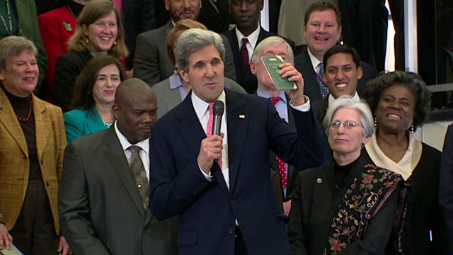 Kerry's first day as secretary of state