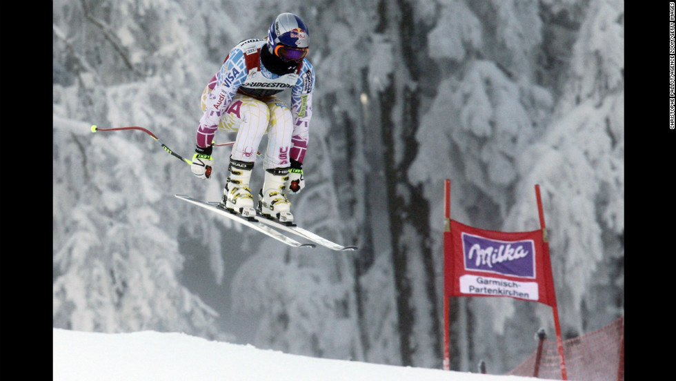 Vonn in action during the Audi FIS Alpine Ski World Cup women's downhill training on February 3, 2012, in Garmisch-Partenkirchen, Germany.