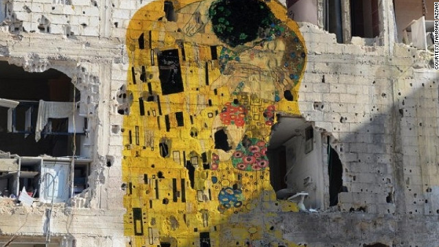 """Freedom Graffiti,"" by Syrian artist Tammam Azzam, is a digitally created work featuring Gustav Klimt's ""The Kiss."""
