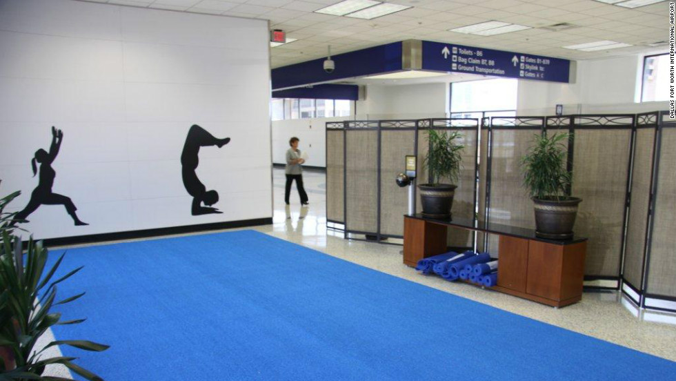 "Dallas Fort Worth is hoping to become the ""healthiest airport in the world"". They have a yoga studio, where passengers can strike a pose between flights."