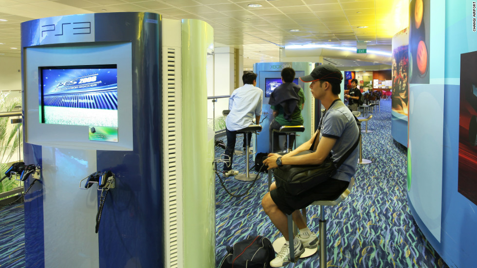 Passengers at Changi can also play games for free in the airport's Entertainment Deck.