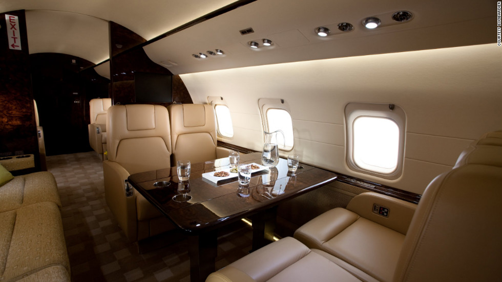 The Challenger 850 cabin includes a galley, front and rear lavatories, audio/video and in-flight mapping systems. Cabin height: 6.08 feet. Cabin length: 48.42 feet. Source: Bombardier